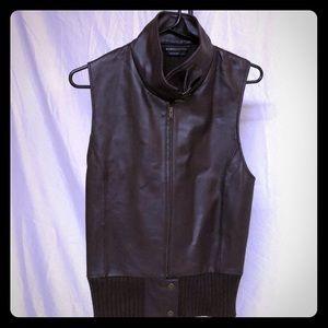 NWOT BCBGMaxazria dark brown leather sweater vest!
